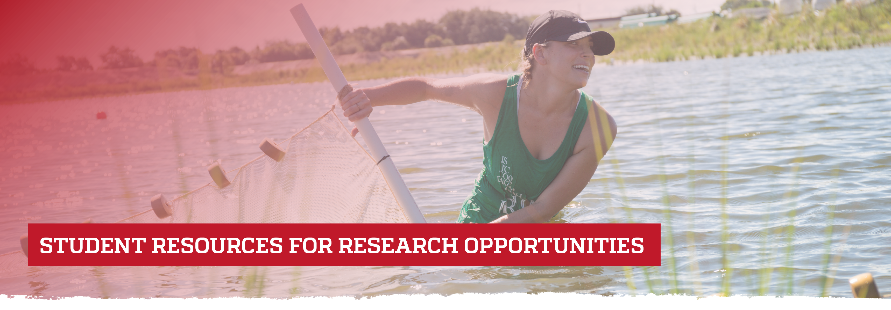 Female intern working in lake; Student Resources for Research Opportunities